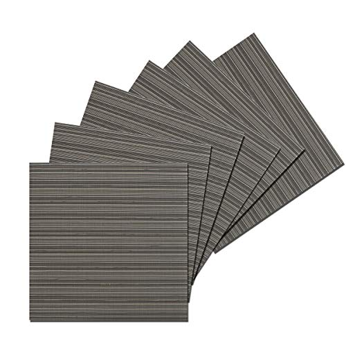 Silver Square Table - Benson Mills Cafe Woven Vinyl Placemats (Silver/Tan/Grey, 14