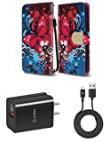 ZTE Blade Vantage | ZTE Avid 4 | ZTE Tempo X - Bundle: Synthetic Leather Wallet Carrying [Card Slots] Case - (Butterfly Symphony), 18W Quick Charge 3.0 Wall Charger, Micro USB Cable, Atom Cloth