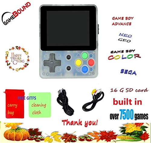 Gamebound LDK Game 4:3 Retro Handheld Game Console +FREE GIFT CARRY BAG (Transparent White)