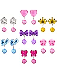 Hicarer 7 Pairs Crystal Clip on Earrings Girls Princess Jewelry Earring and 7 Pairs Earrings Pads in Pink Box (Style 1)