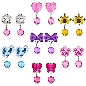 Hicarer 7 Pairs Christmas Crystal Acrylic Clip on Earrings Girls Princess Jewelry Earring and 7 Pairs Earrings Pads in Pink Box