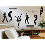 Michael Jackson Portrait Dance Pose Silhouette Wall Art Decor Decal Mural (6 Pcs /Set) Girls and Boys Bedroom Dorm Home Decorative Vinyl Sticker Birthday Gift Collectibles - Large