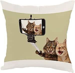 مخدة بتصميم صورة سيلفي لقطط ، قماش كانفس 40cm X 40cm