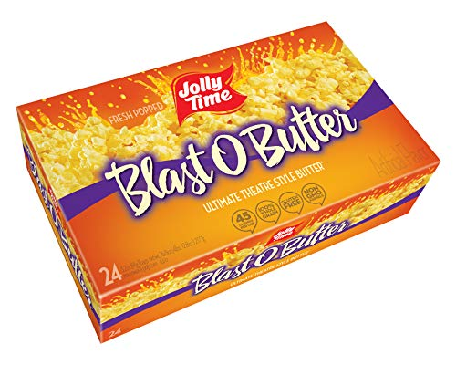 3 Way Popcorn Gift Tin - JOLLY TIME Blast O Butter | Ultimate Movie Theater Style Microwave Popcorn with Extra Buttery Flavor, Palm Oil, Salt and Non GMO Kernels (Bulk 24-Count Box)