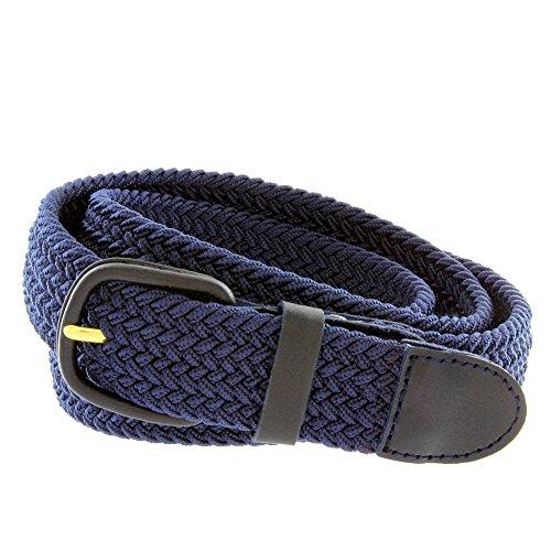 Men's Elastic Braided Stretch Belt (Navy,M) - Round Covered Buckle Belt