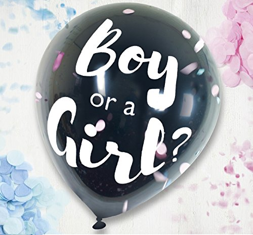 On The Wall Boy or a Girl 36 Gender Reveal Balloon with Pink and Blue Confetti iparty Limited