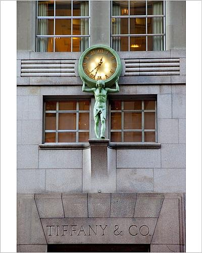 Photographic Print of The Tiffany clock on the side of the famous luxury shop on 5th Avenue - Tiffany Australia Jewelry