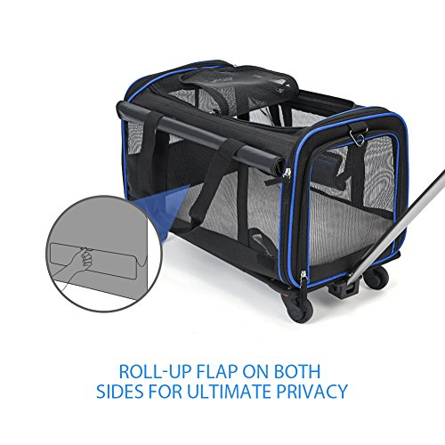 YOUTHINK Pet Wheels Carrier, Soft-Sided Travel Rolling Carrier Pet Stroller Small Size Pets up to 25 lbs Removable Wheels Extendable Handle Fleece Bed, 20'' x 13'' x 12'', Black by YOUTHINK (Image #2)