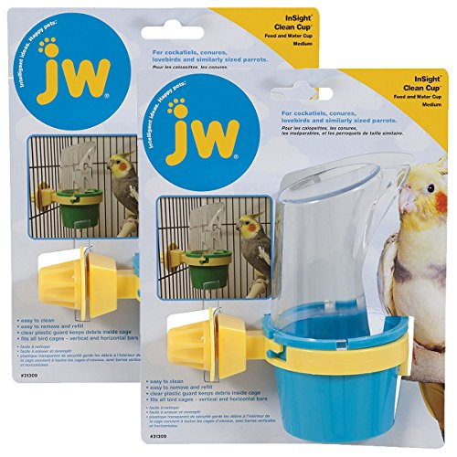 Clean Cup Feeder - JW Pet Company Clean Cup Feeder and Water Cup Bird Accessory, Medium, Colors may vary