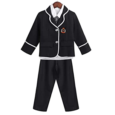 CHICTRY Jungen Schuluniform Cosplay Kostüm Festlich Anzug Oxford Hemd,  Mantel, Lange Hose, Krawatte Set Karneval Fasching Party Outfit  Amazon.de   ... 7871bce45c