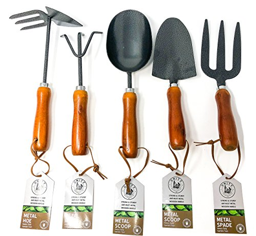 Unity 5 Piece Premium Heavy Duty Garden Tool Set - Wooden Handles - Anti-Rust - Strong And Durable - Garden Tested