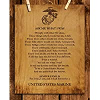 """Ask Me What I Was-Always Be a United States Marine""-Marine Corp-Wall Art- 8 x 10""-Wood Grain Typographic Print-Ready To Frame. Home-Office-Military Decor. Perfect Gift for All Marines. Semper Fi."