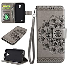Galaxy S4 Case ,LTWS Detachable Two-in-one Premium PU Leather Flip Wallet Magnet Design Flowers Stand Case Cover Fit For Samsung Galaxy S4 -gray
