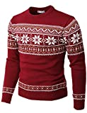 H2H Mens Casual Slim Fit Knitted Crew Neck Sweaters Thermal of Various Christmas Pattern RED US S/Asia M (CMOSWL053)