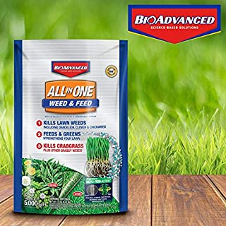BioAdvanced 100532518 Bayer All-in-One Weed & Feed with MicroFeed Action, 12 lb Weed and Feed, 12-Pounds, White