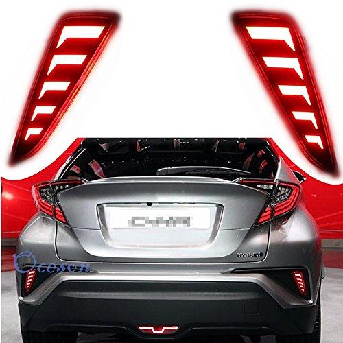 (Oceson Smoked Lens LED Rear bumper Lights Safety Brake Warning Lights Driving Lights Signal Lamp For Toyota C-HR CHR 2017 2018 2019)