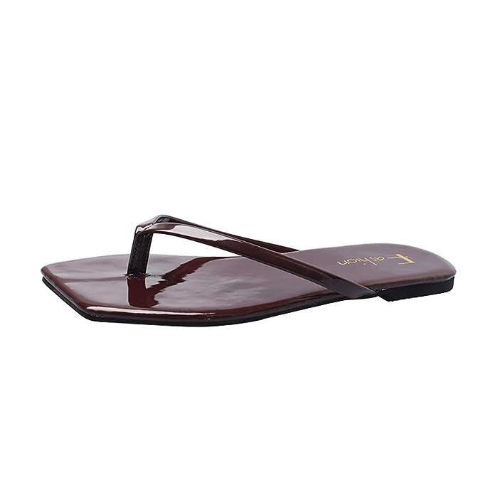 d29f3eb2e31a Amazon.com  ANJUNIE Women Summer Flat Flip-Flops Slippers Simple Clip Toe  Square Head Sandals Beach Walk Shoes  Clothing