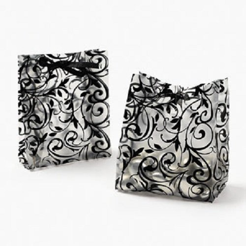 (Lot of 48 Plastic Frosted Black & White Wedding Favor Bags)