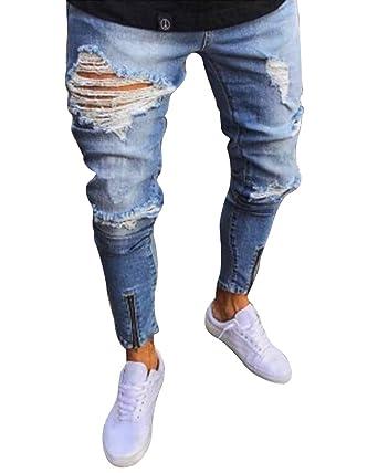 ShiFan Herren Denim Hose Jeanshosen Zerrissene Stretch Jeans Mit  Reißverschluss Am Knöchel Hellblau 3XL 788ce24e71
