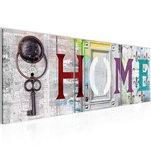 Bilder-Home-Haus-Wandbild-Vlies-Leinwand-Bild-XXL-Format-Wandbilder-Wohnzimmer-Wohnung-Deko-Kunstdrucke-90-x-30-cm-Wei-3-Teilig-100-MADE-IN-GERMANY-Fertig-zum-Aufhngen-503034a