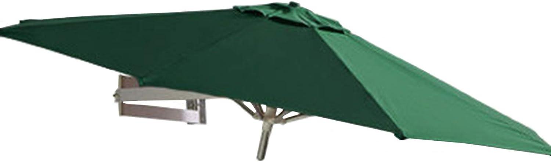 7ft Wall-Mounted Patio Umbrella, Green Garden Umbrella with 8 Aluminum Alloy Ribs & Tilt Adjustment, Balcony/Patio Poolside Narrow Space