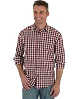 Wrangler Men's Long Sleeve Button Down Plaid Shirt (Size: XL) Red