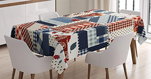 CHARMHOME Farmhouse Cotton Linen Tablecloth, Dining Room Kitchen Rectangular Table Cover 60(W) X90(L) inchInch, Country Featured Mix Scottish Alternating Houndstooth and Polka Dot Patterns