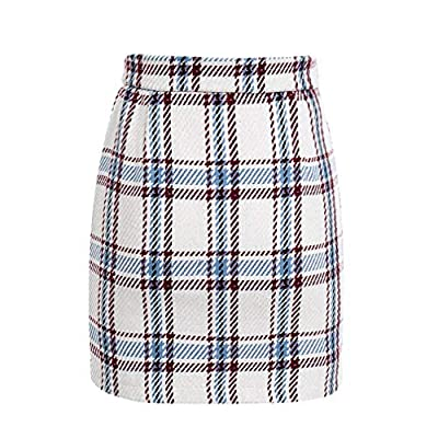 cnmxSE Elegant Front Zipper Tweed Winter Skirt Women Multi Plaid Cute Skirt for Ladies Autumn Lining Mini Skirt