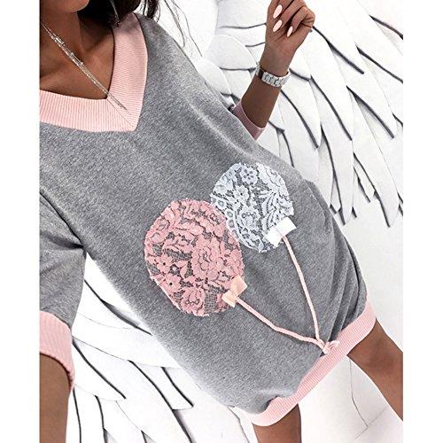 V Top Casual Bianco Donna Maniche Grigio Rosa S Maglietta A Juleya Con Camicia xl Scollo Lunga Felpa Abiti Lunghe Larghe vFwP4q