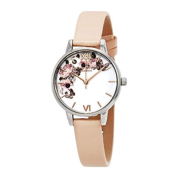 Olivia Burton Reloj Analógico para Mujer de Cuarzo con Correa en Cuero OB16EG75: Amazon.es: Relojes