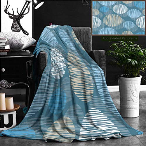 Nalagoo Unique Custom Flannel Blankets Seamless Background With Decorative Circles Print Cloth Design Wallpaper Super Soft Blanketry for Bed Couch, Throw Blanket 60