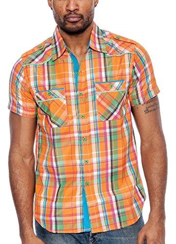 TR Fashion Men's Plaid Short Sleeve Button Down Shirt (Orange, Large)
