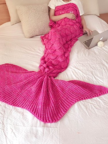 Amazing Mermaid Tail Blanket By ACRIMAX – Comfortable & Soft Design, Unique Fish Scale Knit Pattern, Eco-Friendly & Hypoallergenic Material, Large & Warm Snuggle Companion, Breath-Taking Gift Idea (Christmas Ideas Bath)
