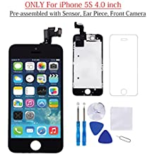 """for iPhone 5S Screen Replacement Black 4.0"""" LCD Display Touch Digitizer Frame Assembly Full Repair Kit, with Proximity Sensor, Earpiece Speaker, Front Camera, Free Screen Protector, Repair Tools"""