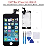 Glob-Tech iPhone 5S LCD Display Screen Replacement Touch Digitizer Full Assembly for iPhone 5S with Preassembled Components (Facing Proximity Sensor, Ear Piece, Front Camera) and Repair Tools, Black