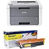 Brother HL-3140CW - Impresora láser color (WiFi, LED), color gris + Brother TN245Y - Tóner amarillo (duración estimada: 2.200 páginas según ISO/IEC19798)