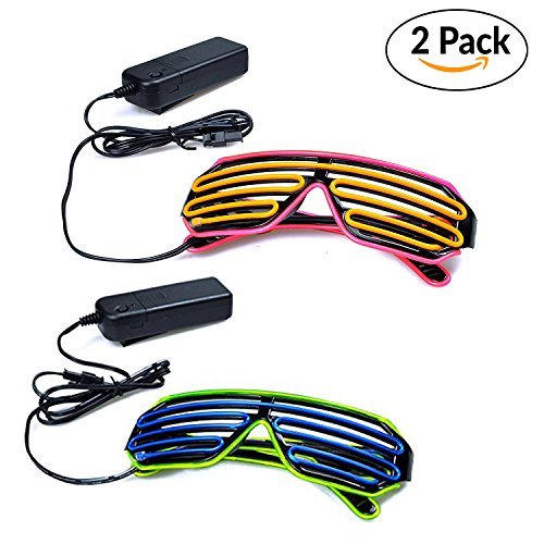 Costume Glasses (2 PCS) by Toysnmore EL Wire Neon Led Glasses Light Up Costumes For Party (Pink/Yellow + Green/Blue)
