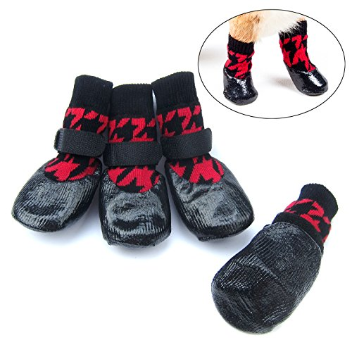 Dog Boots Designer (Alfie Pet by Petoga Couture - Hayes Set of 4 Rubber Dipped Dog Paw Protection Socks - Color Red, Size: XS)