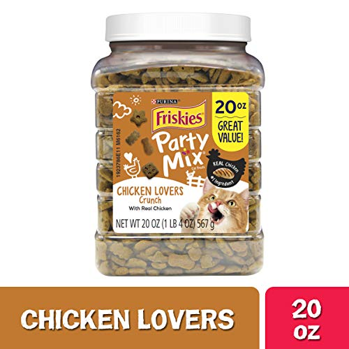 Purina Friskies Made in USA Facilities Cat Treats, Party Mix Chicken Lovers Crunch - 20 oz. Canister from Purina Friskies