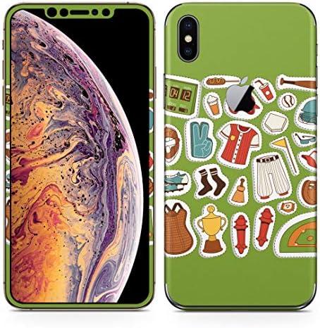 igsticker iPhone Xs Max 全面スキンシール フル 背面 側面 正面 液晶 ステッカー 保護シール 015711 野球 運動 球技
