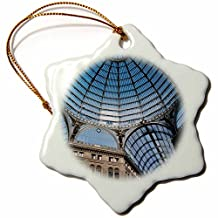 Danita Delimont - Buildings - Italy, Naples. Galleria Umberto 1, glass-vaulted ceiling. - 3 inch Snowflake Porcelain Ornament (orn_206348_1)