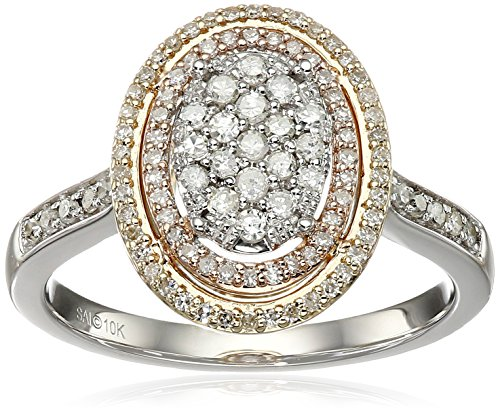 10k White and Pink and Yellow Gold Diamond Ring (1/2cttw,...