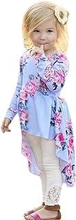 beautyjourney Niños Bebés Blusa con Estampado Floral de Manga Larga Camisa Vestido de Babydoll de Dobladillo Irregular Ropa Festiva