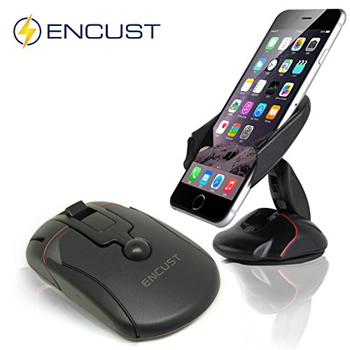 Encust EN-UNI-MOUSEMNT Universal Dashboard Windshield One Touch Foldable Mouse Car Mount Phone Holder Cradle for iPhone 7 SE 6/6s Plus 5s/5c/5, Samsung Galaxy Edge S7, S6, S5 Other Cell Phones