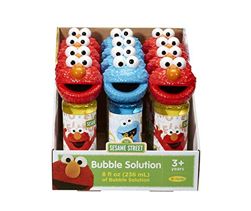 Little Kids Sesame Street Elmo & Cookie Monster 8oz Bubbles & Wand Character Party Favor Pack, 12 Pack -