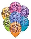 "Assorted Colors Damask 11"" Qualatex Latex Balloons 12 Pk"