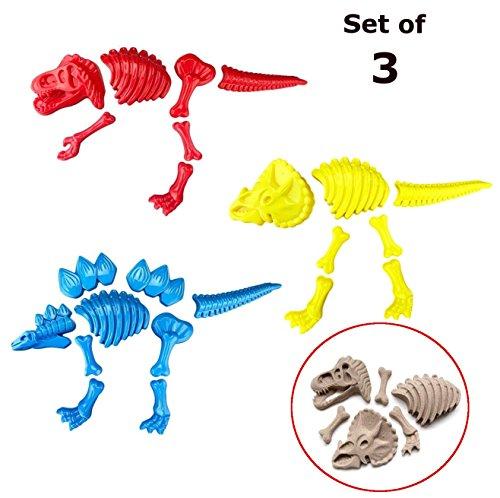 ToyZe® 3 Large Dinosaur Sand Molds, Dinosaur Fossil Skeleton Beach Toy Set -