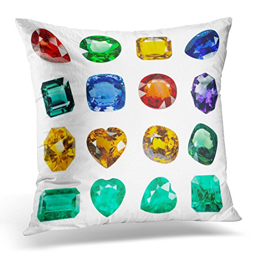 Duplins Blue Stone Bright Gems on White Green Precious Decorative Pillow Cover 16x16 Inches Throw Pillow Case Square Home Decor (American Brilliant Cut Glass Patterns)