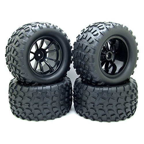 4x RC 1/10 Scale Car Monster Truck Type Tires Gravel w/ 5 Spokes Wheel Rim Black RC Parts - Off Road Type