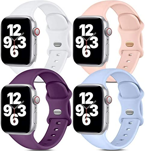 Dirrelo Band Compatible with Apple Watch Bands 38mm 40mm, [4-Pack] Soft Silicone Strap Wristbands for iWatch Series 3 5 6 4 2 1 SE Women Men, S/M White, Pinksand, Dark Purple, Purple